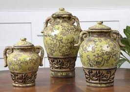 Tuscan Style Kitchen Canister Sets Set 3 World Tuscan Country Canisters Olive Jars Pottery
