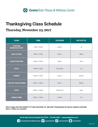 thanksgiving 2017 hours fitness schedule