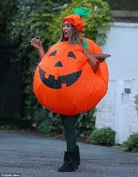 pumpkin costume myleene klass goes trick or treating dressed as a pumpkin