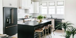 kitchen design white cabinets black appliances matte black customizable professional appliances café