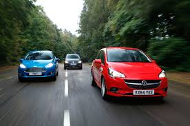opel volkswagen comparison new vauxhall corsa versus ford fiesta and vw polo
