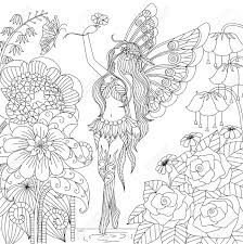 hand drawn fairy flying in flower land for coloring book for