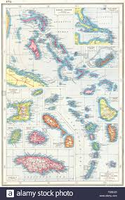 Trinidad Map British West Indies Bahamas Bermuda Trinidad Antigua Jamaica Stock