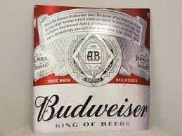 Metal Budweiser Cooler by Budweiser Label Full Color Graphic Metal Sign The Beer Gear