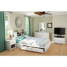 White Storage Bookcase by South Shore Vito Full Queen Size Bookcase Headboard In Pure White