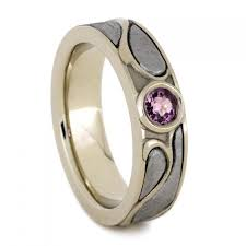 pink sapphire engagement ring with meteorite 14k white gold