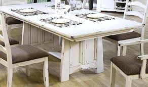 distressed dining chairs beige fabric and distressed gray wood