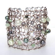 turquoise pearls bracelet images Wide silver cuff bracelet pearl bracelet steel wire knit jpg
