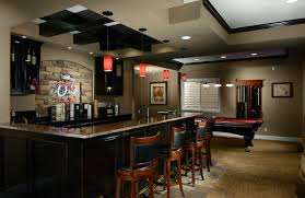 decor modern basement bar ideas with cool recessed lighting