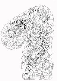 two uncolored tigers in tree branches tattoo design tattooimages biz