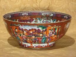 mandarin porcelain export porcelain famille mandarin pallette punch bowl