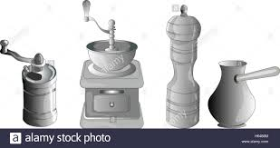 Old Fashioned Coffee Grinder Set Of Coffee Making Equipment Old Fashioned Manual Burr Mill