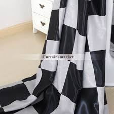 black and grey plaid curtains for living room and bedroom