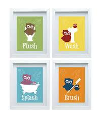 Kids Bathroom Decor Sets Bathroom Rules Art Kids Bathroom Decor Owl Wall Decor Set Of