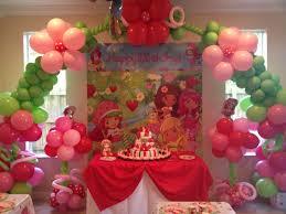 strawberry shortcake inspired balloon arch strawberry shortcake