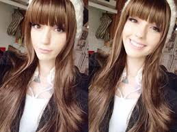 hairstyles for straight across bangs long brown hair wig with straight across front bangs bangs