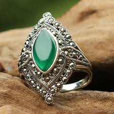 silver rings vintage images Vintage style marquise shape green agate 925 sterling silver ring jpg