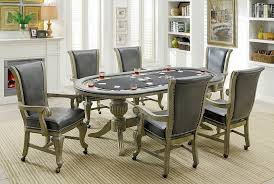 poker game table set furniture of america cm gm367gy 7 pc melina collection gray finish