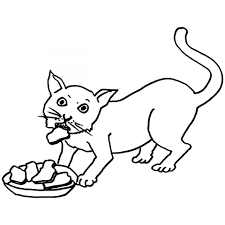 cat eating food colouring page to print for preschooler