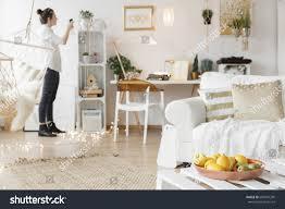 bright cozy apartment scandi style stock photo 668547295