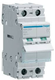 hager sbn263 double pole 63a switch disconnector