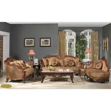 karma victorian style brown fabric upholstered living room sofa