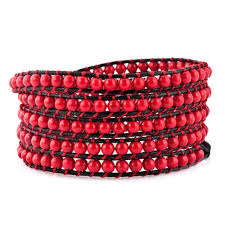 red wrap bracelet images Garnet red beads on black leather turquoise wrap bracelet snap jpg