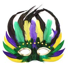 green mardi gras mask feathered mardi gras mask