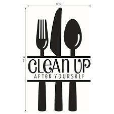 clean up kitchen cooking utensil spatula vinyl wall stickers quote