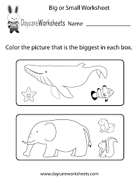 Worksheets For Kindergarten Printable Free Preschool Big Or Small Worksheet