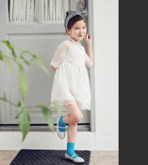 white lace design girls dress good quality korean style hand made