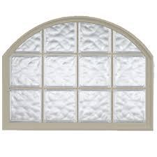 hy lite 42 in x 50 in acrylic block arch top vinyl window tan