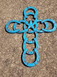 cast iron western horseshoe brush painted cross religious decor