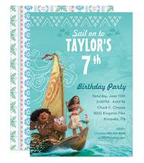 Invitation Card 7th Birthday Boy Moana Birthday Party Invitation Disney U0027s Moana Birthday Parties