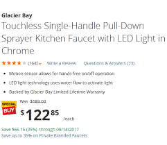 glacier bay touchless led single touchless single handle pull sprayer kitchen faucet with led