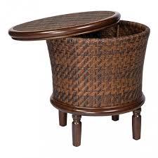 white wicker end table stylish table glamorous whitecraft woodard north shore round storage
