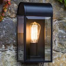 black exterior wall lights astro richmond ip44 outdoor flush wall light black finish clear
