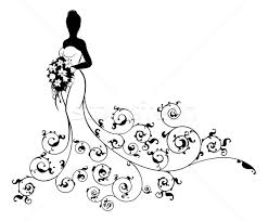 wedding flowers drawing wedding bouquet abstract silhouette vector illustration
