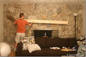 How To Lay Brick Fireplace by Remodelaholic Installing A Wood Mantel On A Stone Wall
