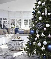 Silver And White Christmas Decorations Blue Christmas Tree Decorating Ideas Adding Cool Elegance To