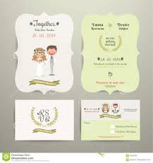 Invitation Card With Rsvp Bride U0026 Groom Cartoon Romantic Farm Wedding Invitation Card And