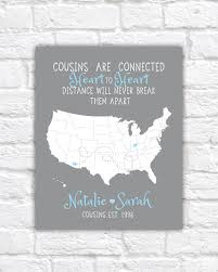 Map Quotes Cousin Gift Christmas Gift For Long Distance Family Cousins