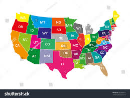 Map De Usa by Usa Map Colors Stock Vector 583866973 Shutterstock