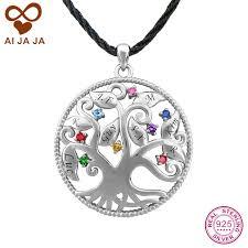personalized family tree necklace aijaja 925 sterling silver family tree necklace pendants