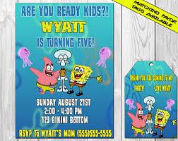 sponge bob invite etsy