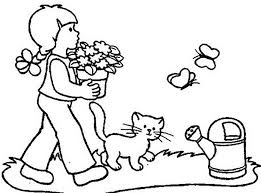 carrying flowers flower garden coloring pages kids