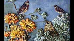 ribbon embroidery flower garden flowers birds silk ribbon embroidery art needlework art