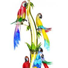 murano glass tree with 7 parrots shop zanetti murano