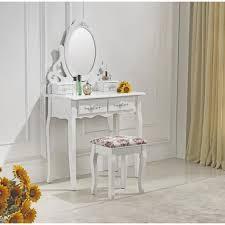 coiffeuse blanche avec miroir et tabouret 41 achat vente