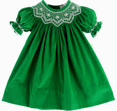 hiccups childrens boutique girls green smocked corduroy bishop